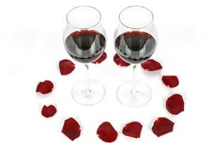 Rose petals and red wine